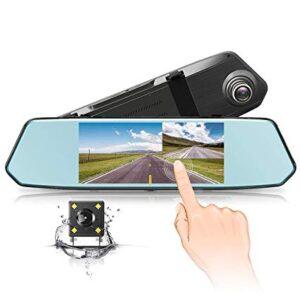 Видеорегистратор тип огледало с 7 инча дисплей + задна камера