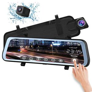 Видеорегистратор тип огледало с 9.66 инча дисплей + задна камера FullHD