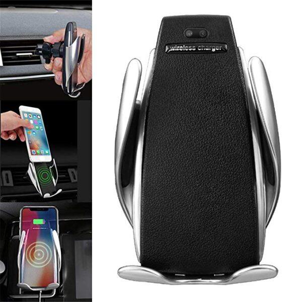 Автоматична стойка за смартфон за кола с безжично зареждане
