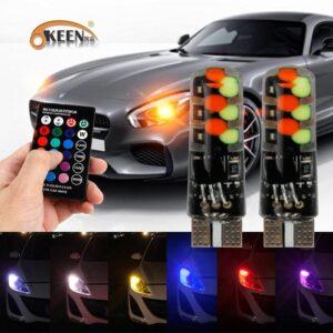 RBG LED Диодни габаритни светлини за кола с дистанционно