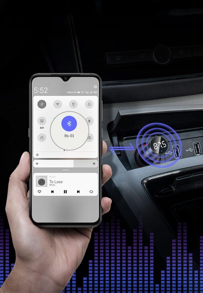 SmartZone.bg Bluetooth MP3 + зарядно устройство Baseus (Bluetooth 5.0 + 5V / 3.1A)