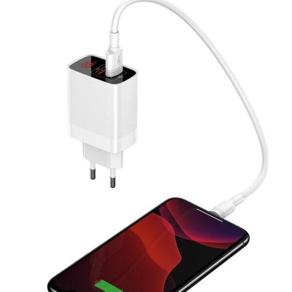 SmartZone.bg Зарядно / адаптер с дисплей - 2 x USB 18W QC 3.0 Baseus Mirror Lake