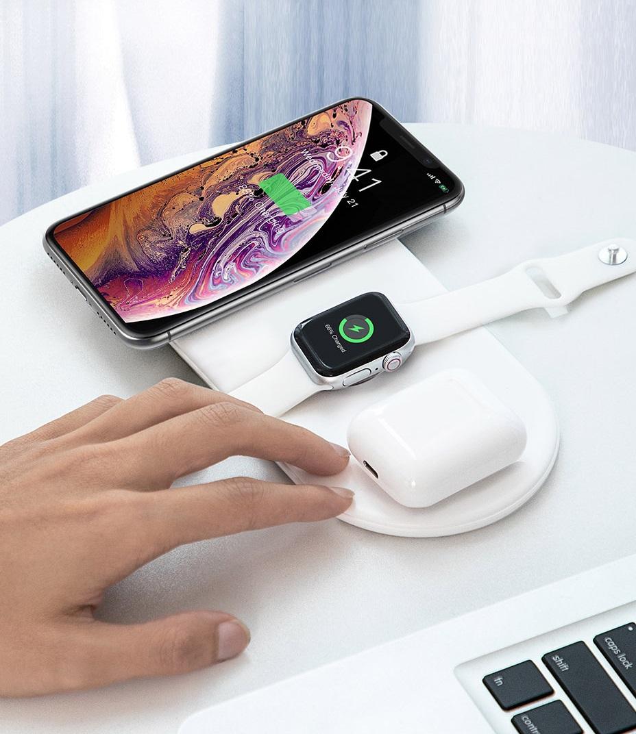 SmartZone.bg Безжично зарядно устройство Baseus Smart 3в1 за смартфон, Apple Watch и AirPods, 18W