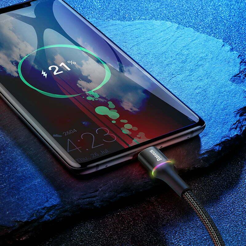 SmartZone.bg Кабел Baseus Halo, USB-C с LED подсветка, 3A, 1m